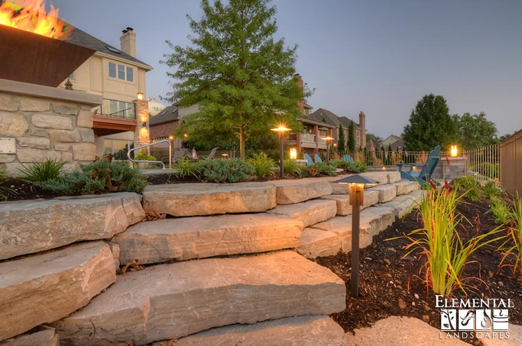Led Landscape Lights Path More To Accent Retaining Wall