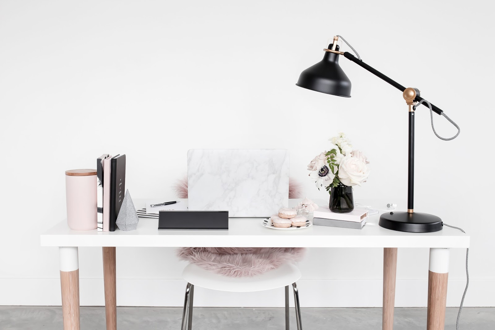 Workspace with desk and lamp