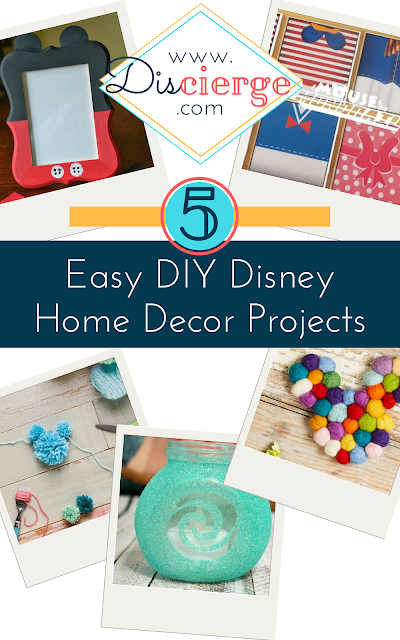 Easy DIY craft projects, roundup featuring five Disney home decor projects. Make your home a Disney home. | Easy Disney crafts, DIY home decor. | #DisneyCrafts