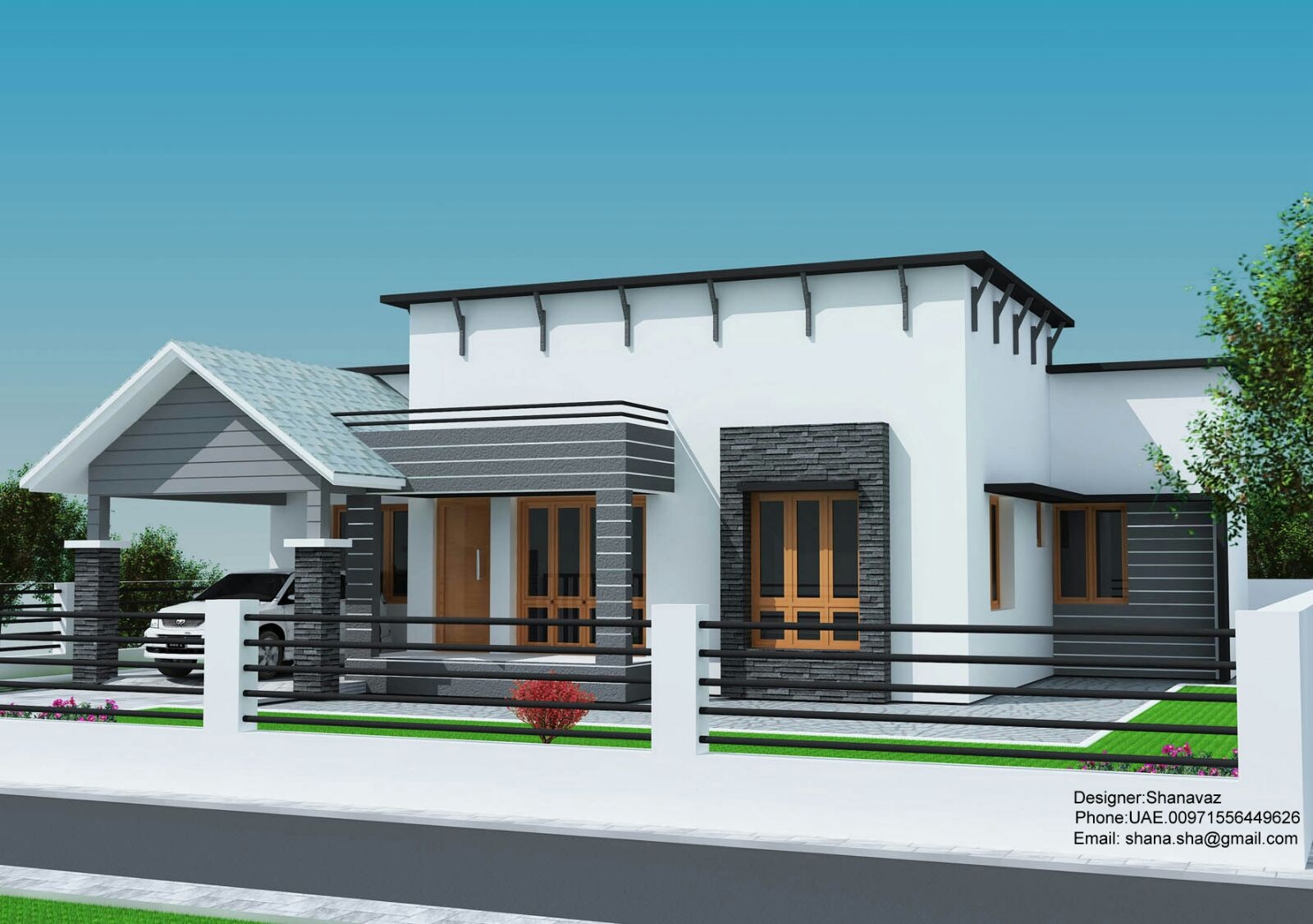 small plot 3 bedroom single floor house in kerala with free plan