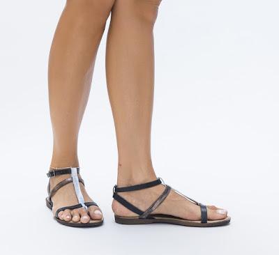 Sandale bleumarin cu talpa joasa de vara