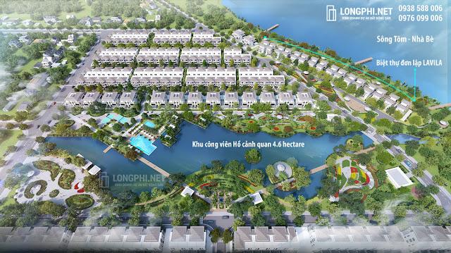 Vị trí biệt thự đơn lập Lavila De Rio Kiến Á trong tổng thể khu dân cư ven sông Tôm 16.4 hectare.