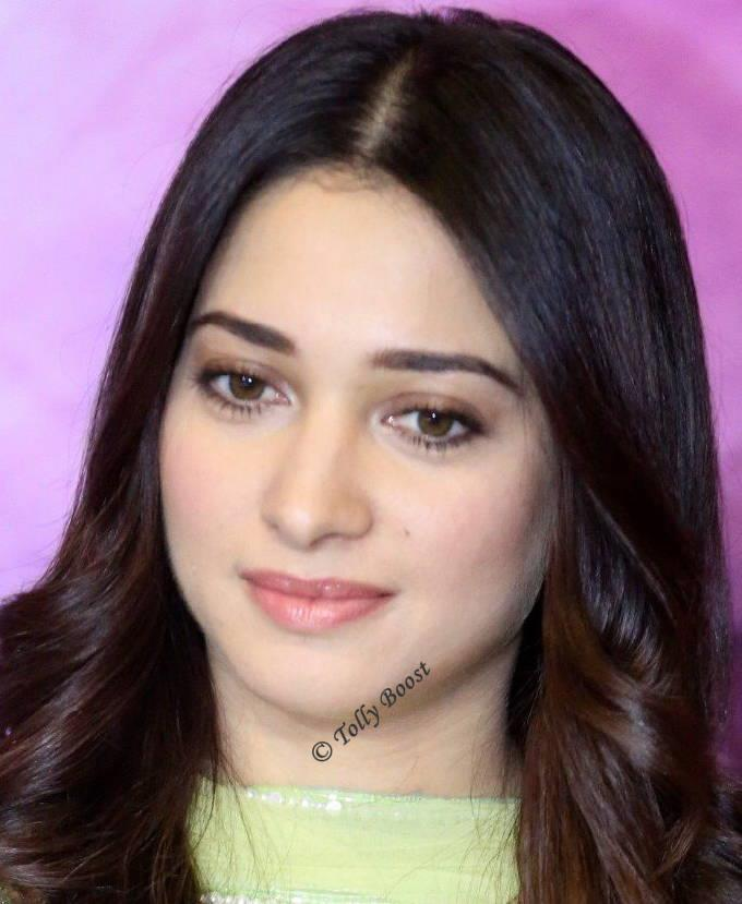 Telugu Actress Tamannaah Beautiful Long Hair Face Closeup