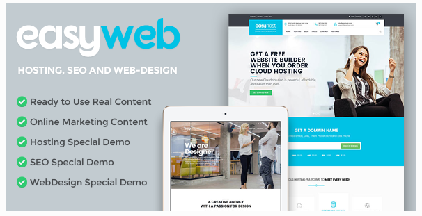 Free Download EasyWeb V2.0.1 WP Theme For Hosting SEO and Web Design Agencies 2017