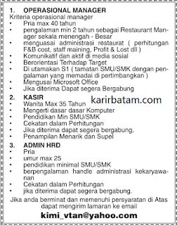 Lowongan Kerja Operational Manager, Admin, Serta Kasir November 2017