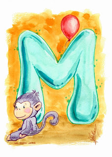 Cute Alphabet: M for monkey letter 002 by Elizabeth Casua, tHE 33ZTH oRDER. Watercolour artwork Initials.
