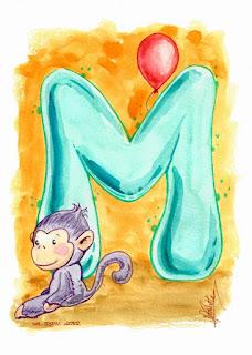Cute Alphabet: M for monkey letter 002 by Elizabeth Casua, tHE 33ZTH oRDER. Watercolour artwork Initials.