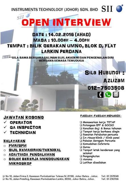 Temuduga Terbuka SII - Jawatan Kosong Instruments Technology (JOHOR) Sdn Bhd 2016