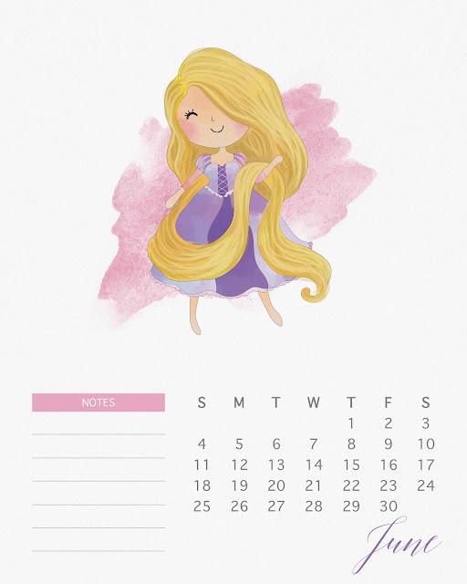 Calendario 2017 de las Princesas Disney para Imprimir Gratis  Junio.