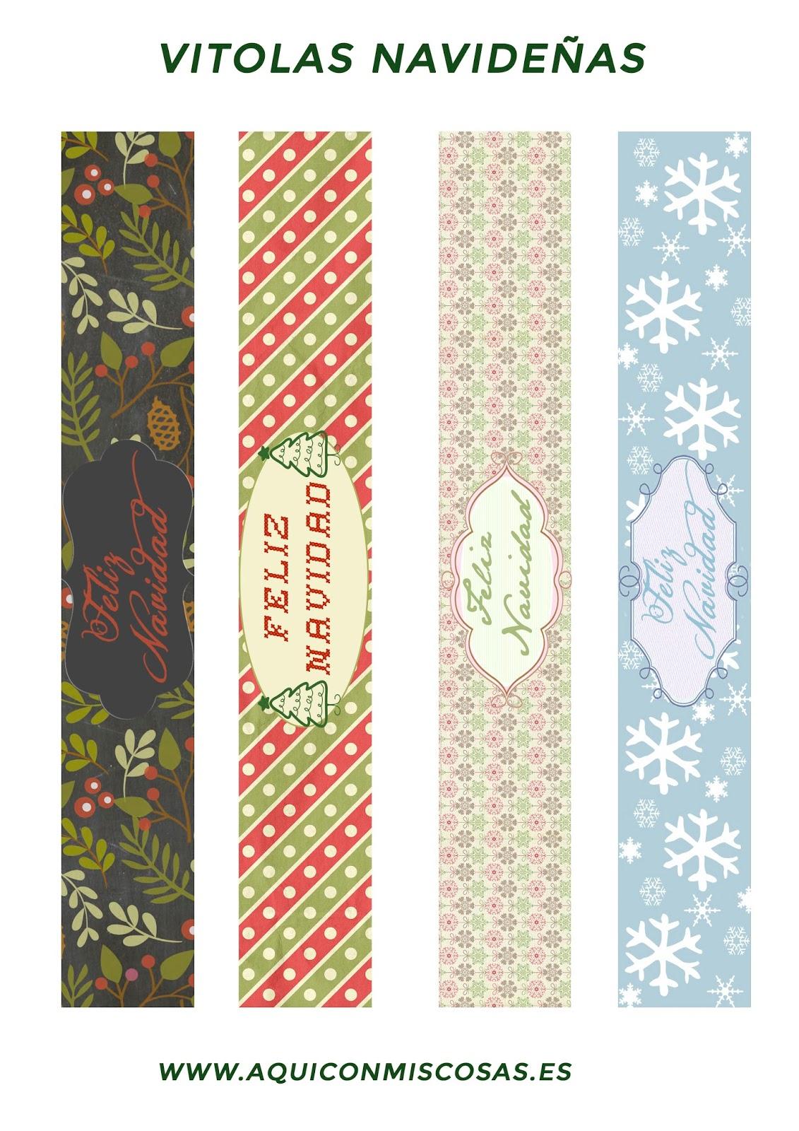 Vitolas imprimibles Feliz Navidad