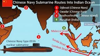 Perkiraan Rute Kapal Selam Nuklir AL China (PLAN)