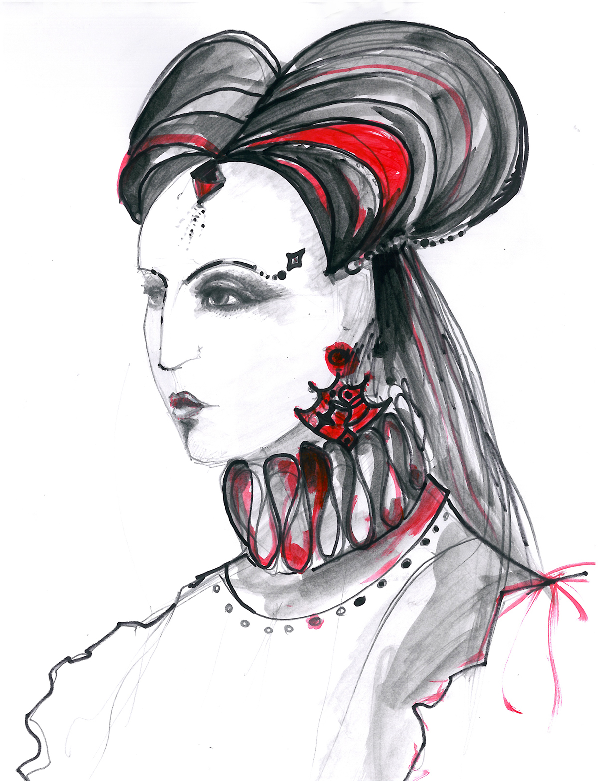 Theatral Renaissance Fashion Illustration