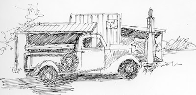 art sketch pen ink truck ford gas station vintage