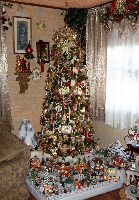 Victorian Style Christmas Tree and Village, Christmas Home Tour, 2018
