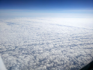 Fluffy clouds as we fly over Europe