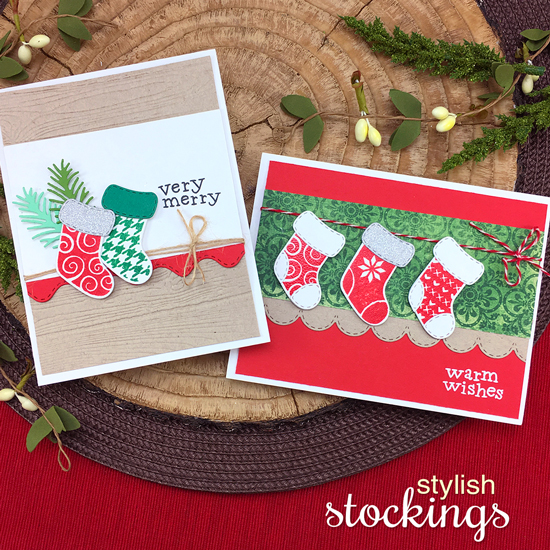 Stocking Christmas Cards by Jennifer Jackson | Stylish Stockings Stamp Set by Newton's Nook Designs #newtonsnook #handmade