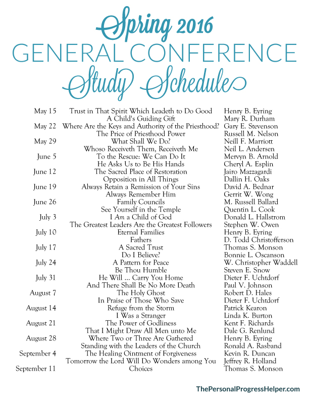 Get the most out of General Conference with this Study Schedule for Spring 2016!