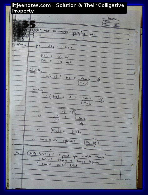 Solution and Their Colligative Property Notes IITJEE3