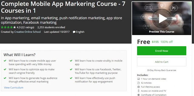 [100% Off] Complete Mobile App Markering Course - 7 Courses in 1| Worth 195$
