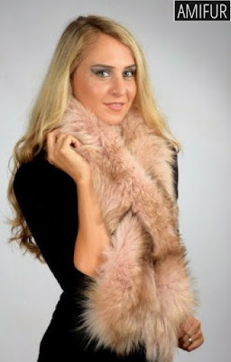 Pink Fox Fur Scarves