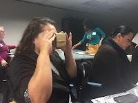Parent looking through google glasses