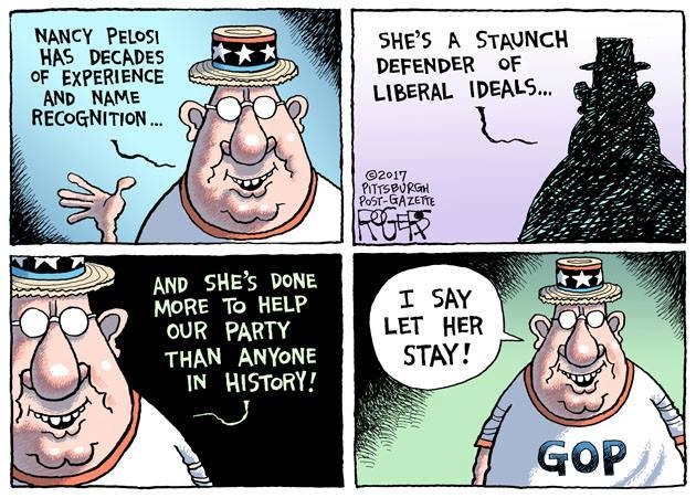Let Pelosi stay says GOP - cartoon by Rob Rogers