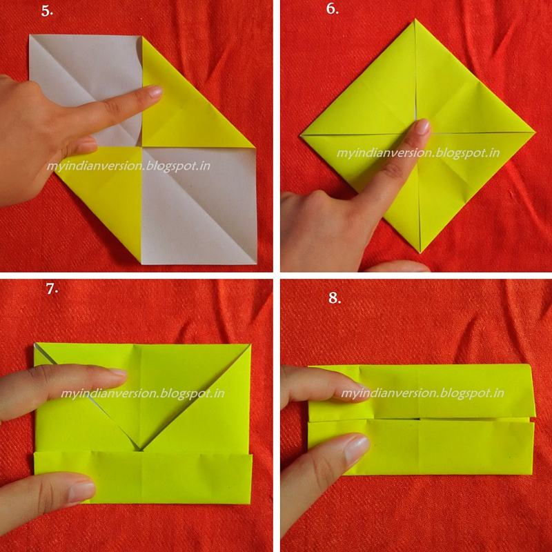 Step5 To Step8 Diy Origami Paper Box Myindianversion Open Fold From Step