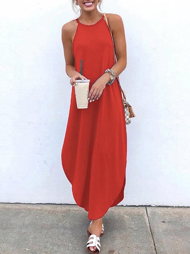 Red maxi newchic summer dress 2020