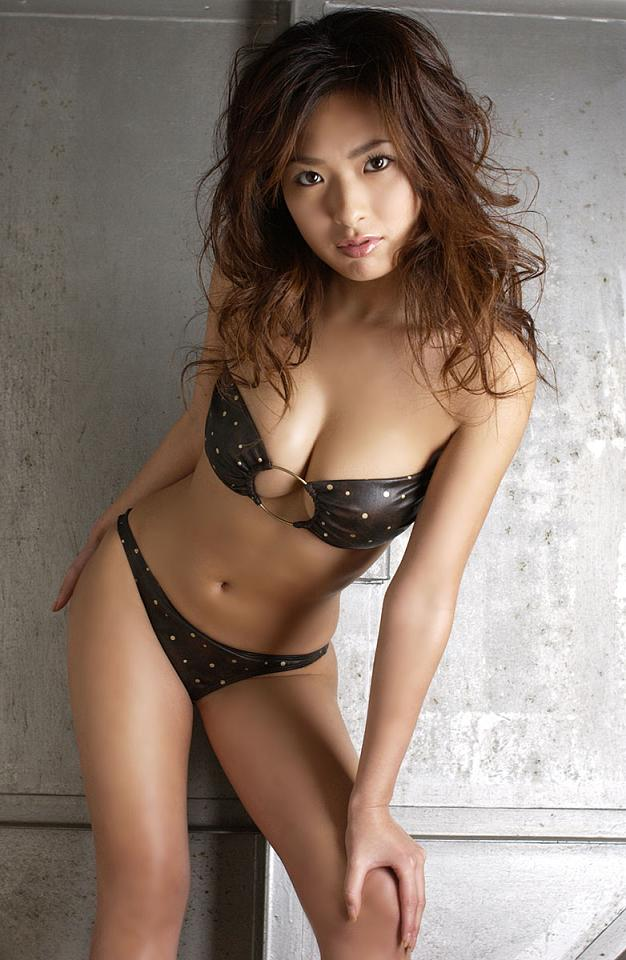 Lovely japanese model in black bikini
