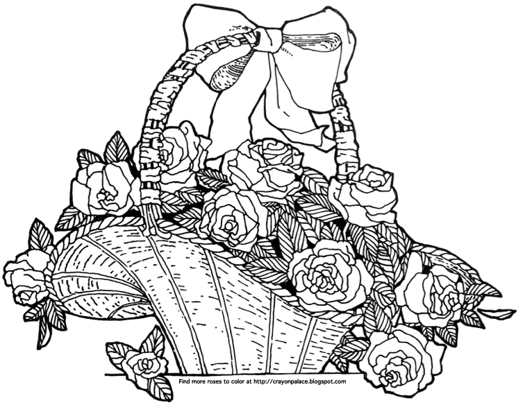 A Basket Of Roses Coloring Page