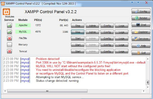 Cara Instalasi XAMPP di Windows - XAMPP Control Panel