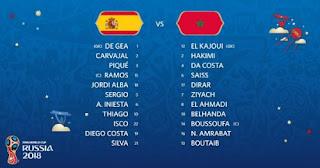 Susunan Pemain Spanyol Vs Maroko - Piala Dunia 2018