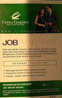 Lowongan Kerja Account Executive di Ciputra Garden Makassar