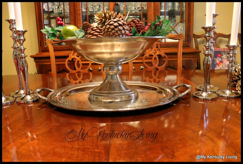 silver tray and centerpiece