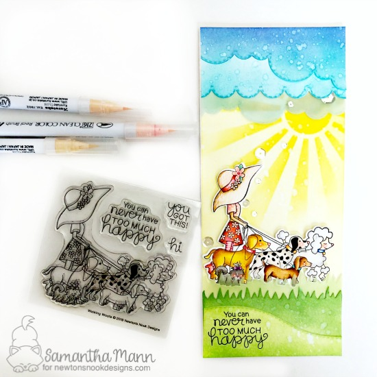 Happy Dog Walker Card by Samantha Mann | Walking Woofs Stamp Set, Sky Borders Die set, Land Borders Die Set and Sunscape Stencil by Newton's Nook Designs #newtonsnook #handmade