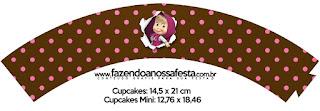 Wrappers para Cupcake de Masha y el Oso.