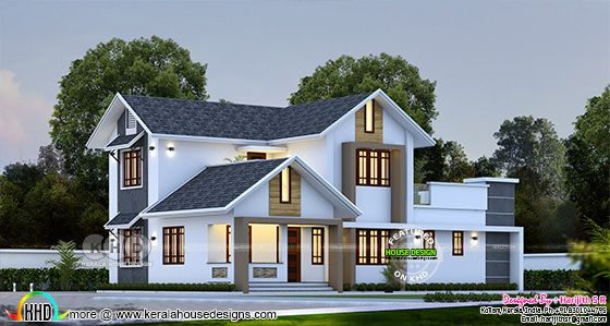 Sloping roof 4 bedroom house