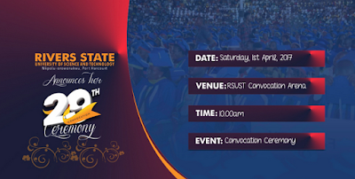 RSUST 29th Convocation Ceremonies Programme of Events