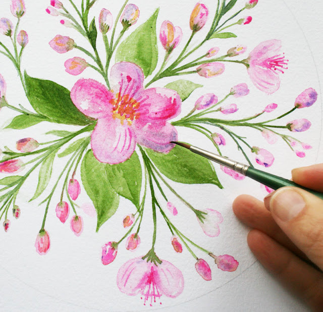 Louise Gale, Watercolor, Botanical Mandala, painting, mandala flowers, blossoms