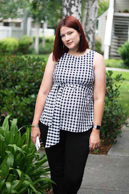 Pregnancy blogger, Baby bump, Gingham top, Topshop, Maternity, Fashion Blogger, stylist