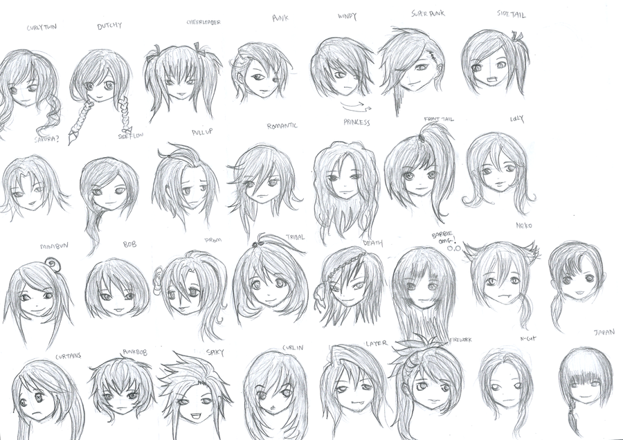 Long Hair Drawing Anime Hairstyles