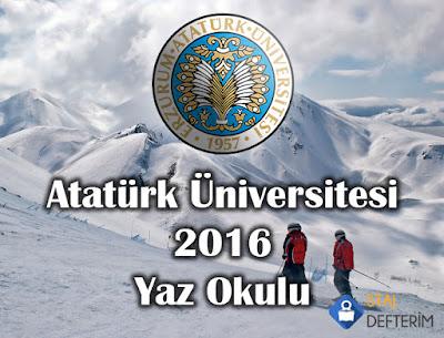 Atatürk Üniversitesi 2016 Yaz Okulu