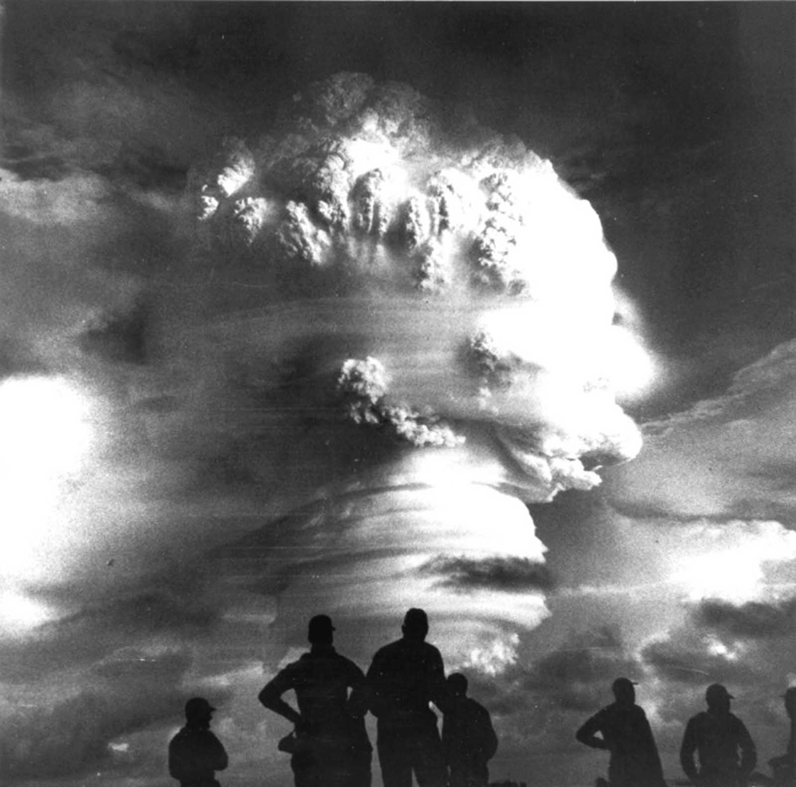 Observers view atmospheric testing during Operation Hardtack I, a thermonuclear detonation during the Pacific tests in 1958.