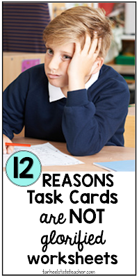 Task cards are an engaging, fun classroom activity and allow for easy differentiation, even in whole group instruction. Find out why I think they are awesome for whole group math instruction and differentiation. 3rd, 4th, 5th and 6th grade math teachers, you won't want to miss this post! Know the reasons why task cards ARE NOT just glorified worksheets!