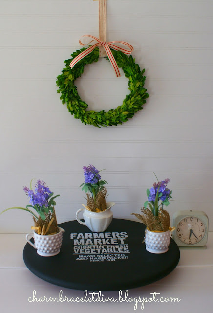 stencil lazy susan farmhouse creamer boxwood wreath