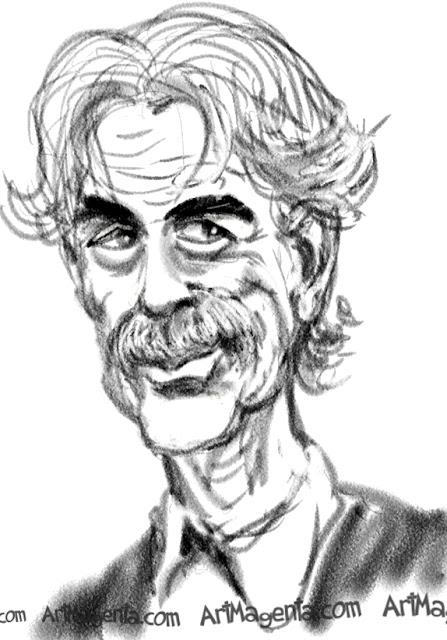 Sam Elliot caricature cartoon. Portrait drawing by caricaturist Artmagenta