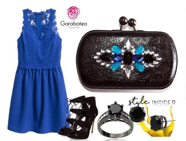 Accesorios para vestido azul rey con negro