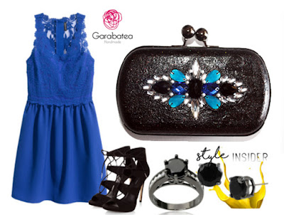 Combina tu clutch joya azul y negro