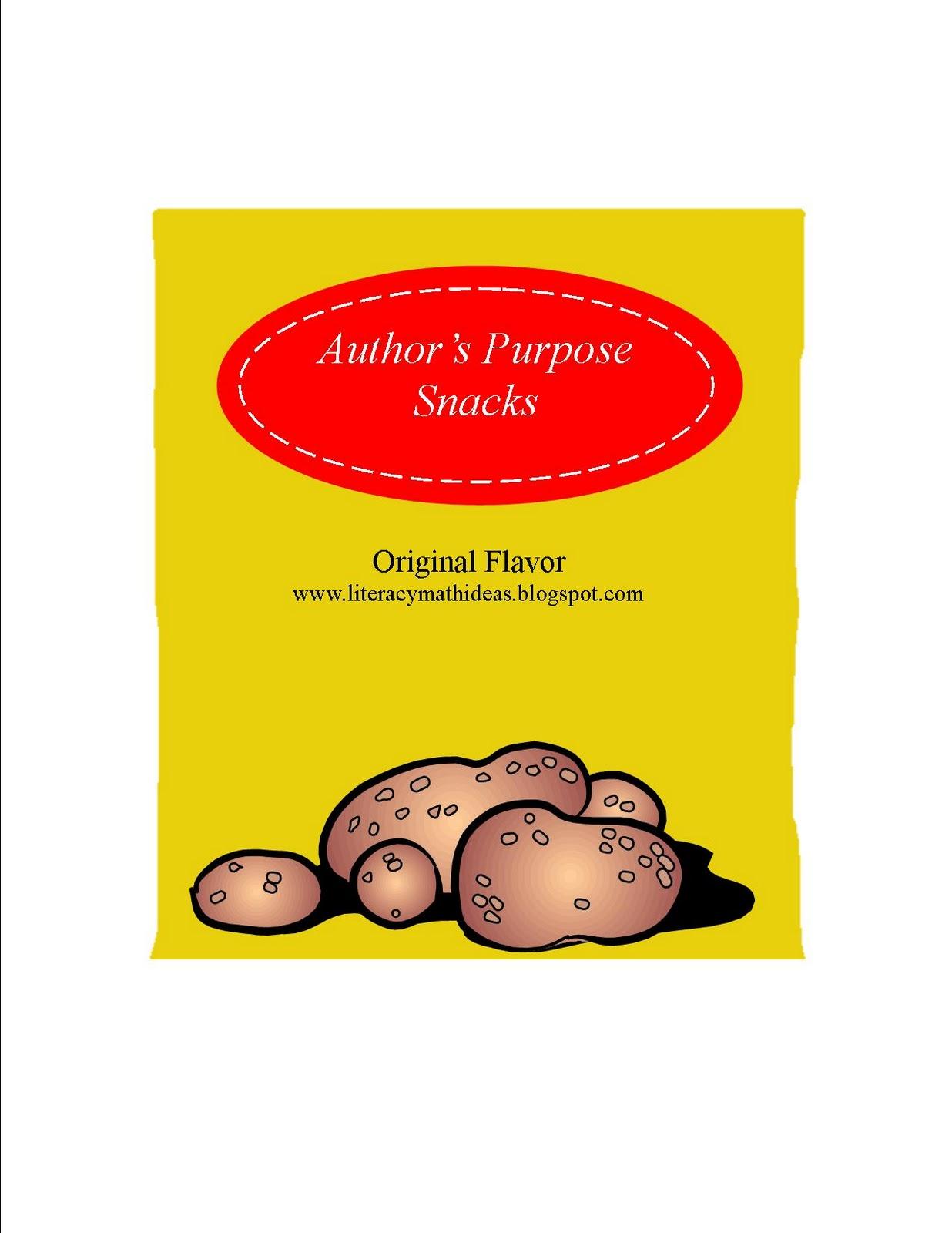 Literacy Amp Math Ideas Author S Purpose Snacks