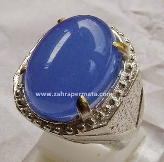 Cincin Batu Permata Blue Chalcedony